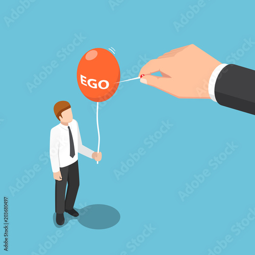 Isometric big hand use needle to destroy ego balloon of businessman Tableau sur Toile