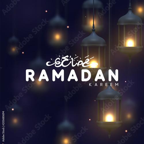 Ramadan greeting card with arabic calligraphy ramadan kareem ramadan greeting card with arabic calligraphy ramadan kareem realistic old arabic lamps lanterns with shiny m4hsunfo