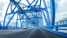 JACKSONVILLE, FL - APRIL 8, 2018: Main Street Bridge As Seen From A Moving Car. The City Is A Major Attraction In Florida