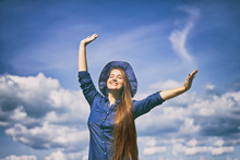 Happy Young Woman With Hat