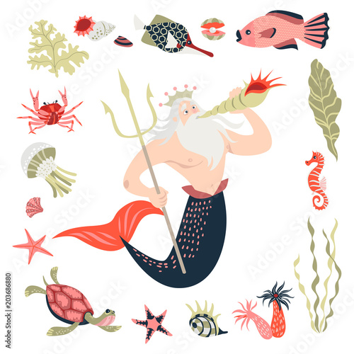 Valokuva Cartoon triton surrounded by tropical fish, animal, seaweed and corals