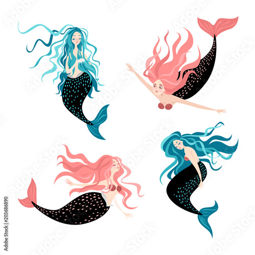Cotton fabric Set of funny cartoon mermaids. Fairy tale characters Cute isolated vector illustrations on white background