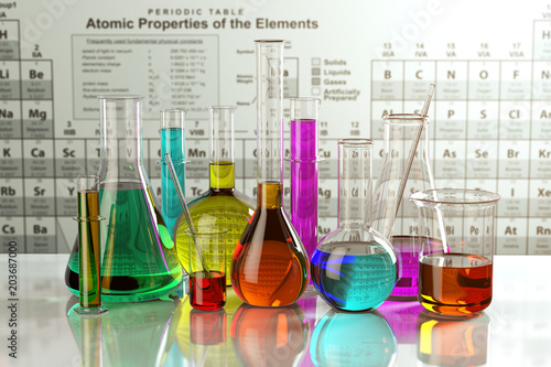 Obraz na plátně Test glass flasks and tubes with colored solutions on the periodic table of elements