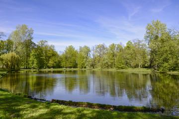 Fototapeta na wymiar Lake in Warsaw Wilanów