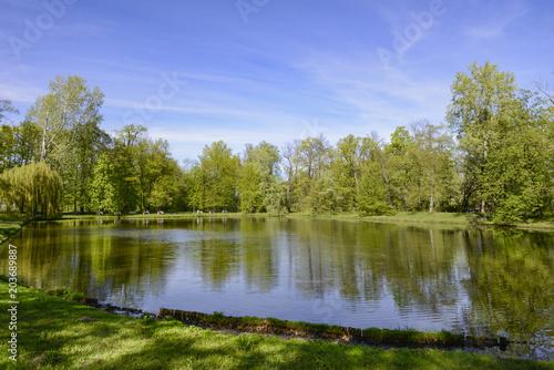 Fotobehang Meer / Vijver Lake in Warsaw Wilanów