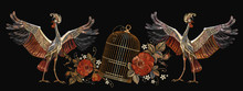 Embroidery Vintage Crane Birds, Golden Cage And Roses. Template For Clothes, Textiles, T-shirt Design. Classical Embroidery Two Japanese Cranes, Gold Cage And Red Buds Of Roses Art