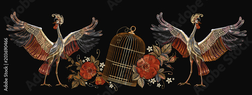 Embroidery vintage crane birds, golden cage and roses Fototapet