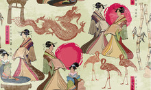 Traditional Japanese Culture, Red Sun, Dragons And Geisha Woman. Japanese And Chinese Culture Seamless Pattern