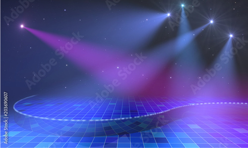 Poster Violet Empty open stage with lights and stars above blue tiled floor. 3d render.