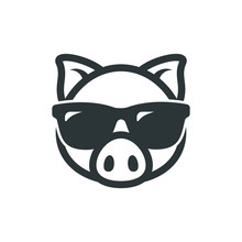 Pig In Sunglasses Icon. Piggy ...