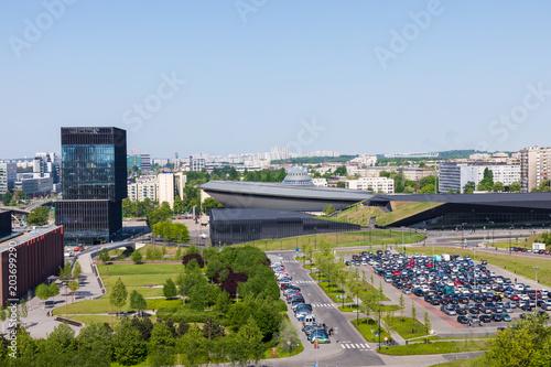 KATOWICE, POLAND - MAY 05, 2018: Cityscape of Katowice, city in southwestern Poland, center of the Silesian Metropolis. The metropolitan area is the 16th most economically powerful city in the EU.