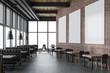 canvas print picture - Luxury brick restaurant interior, poster gallery