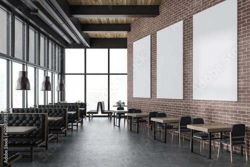 Photo sur Toile Restaurant Luxury brick restaurant interior, poster gallery