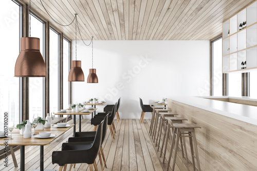 Foto op Canvas Restaurant Wooden ceiling restaurant interior