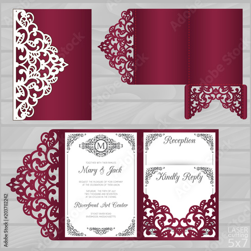 Die laser cut wedding card vector template Tapéta, Fotótapéta