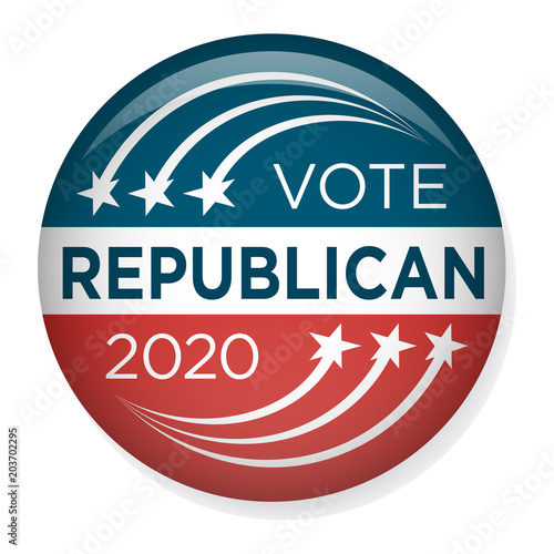 Obraz na plátne 2020 Campaign Election Pin Button or Badge with Patriotic Stars & Stripes Theme