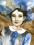 Watercolor portrait of a beautiful woman in blue.  - 203706293