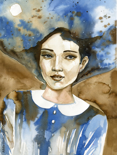 Spoed Foto op Canvas Schilderkunstige Inspiratie Watercolor portrait of a beautiful woman in blue.