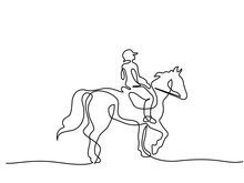 Continuous One Line Drawing. Horse And Rider On Horseback Logo. Black And White Vector Illustration. Concept For Logo, Card, Banner, Poster, Flyer