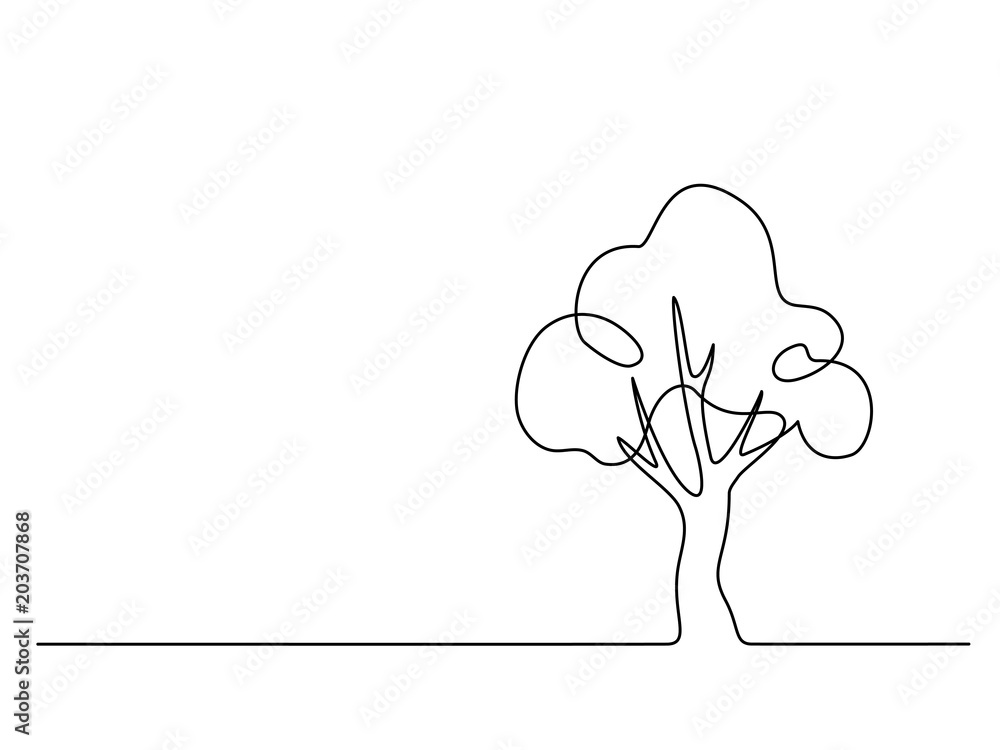 Fototapety, obrazy: Continuous line drawing. Tree logo. Vector illustration. Concept for logo, card, banner poster flyer