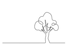 Continuous Line Drawing. Tree ...