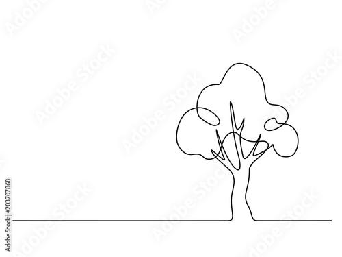 Ciągłe rysowanie linii. Logo drzewa. Ilustracji wektorowych. Koncepcja logo, karty, ulotki plakat transparent