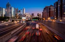 Downtown Atlanta, Georgia, City, Night, Traffic, Highway, Skyline