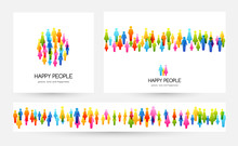 Social Conceptual Illustration. Vector Banners Collection With Design Elements From Colorful People Icons.