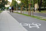 Fototapeta Miasto - Bicycle road sign on asphalt. Ciąg pieszo-rowerowy.