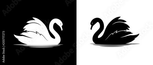 Fotografie, Obraz Vector swan silhouette