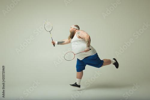 Man playing badminton Canvas Print