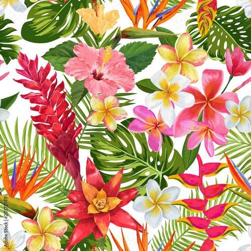 Foto Watercolor Tropical Flowers and Palm Leaves Seamless Pattern