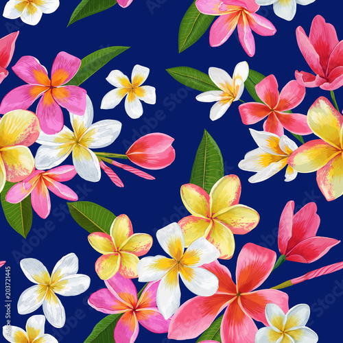 Watercolor Tropical Flowers Seamless Pattern Billede på lærred