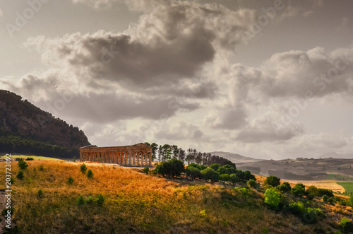 Scenic view of ancient temple in Segesta, Sicily Canvas Print