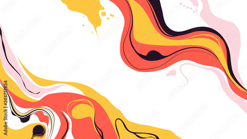 Fototapety, obrazy: Abstract ink marbling background, painting on water style, warm tone
