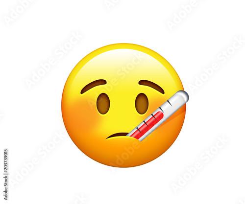 Photo Emoji ill yellow sad face with heat probe icon