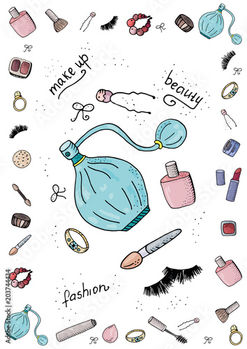 Cute Fashion A4 Template For Notes With Make Up Tools Cosmetics Vector Organizer Page Trendy Self Organization Concept With Graphic Design Elements Buy This Stock Vector And Explore Similar Vectors At Adobe