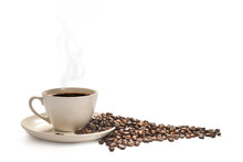 Cup Of Coffee With Smoke And Coffee Beans Isolated On White