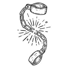 Illustration Of Broken Shackles On White Background. Design Element For Poster, Card, T Shirt.