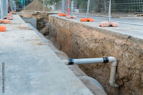 Photo Road works and reinstallation of storm water pipes