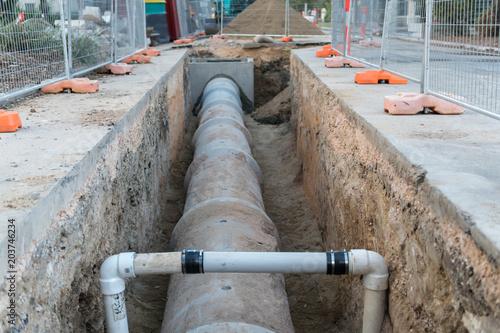 Fotografia, Obraz New storm water pipes
