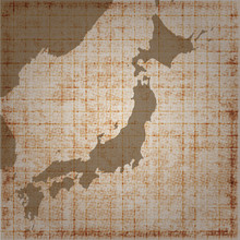 The Japanese Retro Map, Flat Vector Illustration