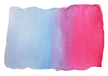 Blue And Pink Color Abstract Pattern On White Background , Illustration Abstract Watercolor Hand Draw And Painted On Paper