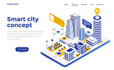 Fototapeta City - Flat color Modern Isometric Concept Illustration - Smart city