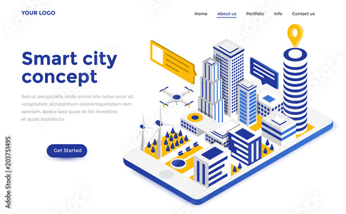 Flat color Modern Isometric Concept Illustration - Smart city - 203751495