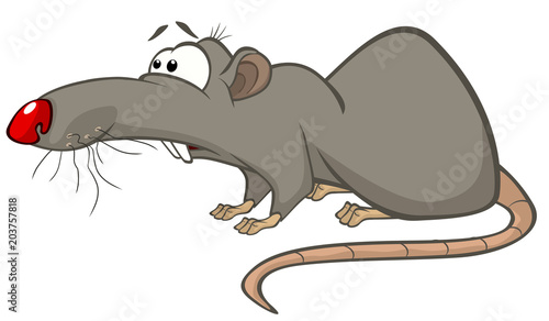 Fotobehang Babykamer Illustration of a Cute Rat. Cartoon Character