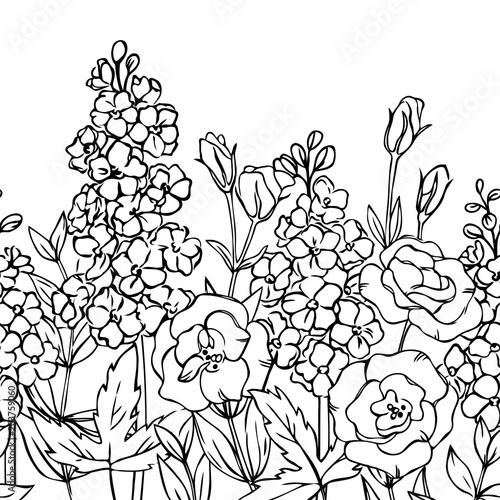 Tablou Canvas vector contour delphinium eustoma lisianthus rose  flowers bud leaf seamless rep