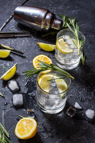 Foto auf Leinwand Cocktail Alcoholic drink gin tonic cocktail with lemon, rosemary and ice on stone table