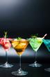 Colorful summer cocktails on black background