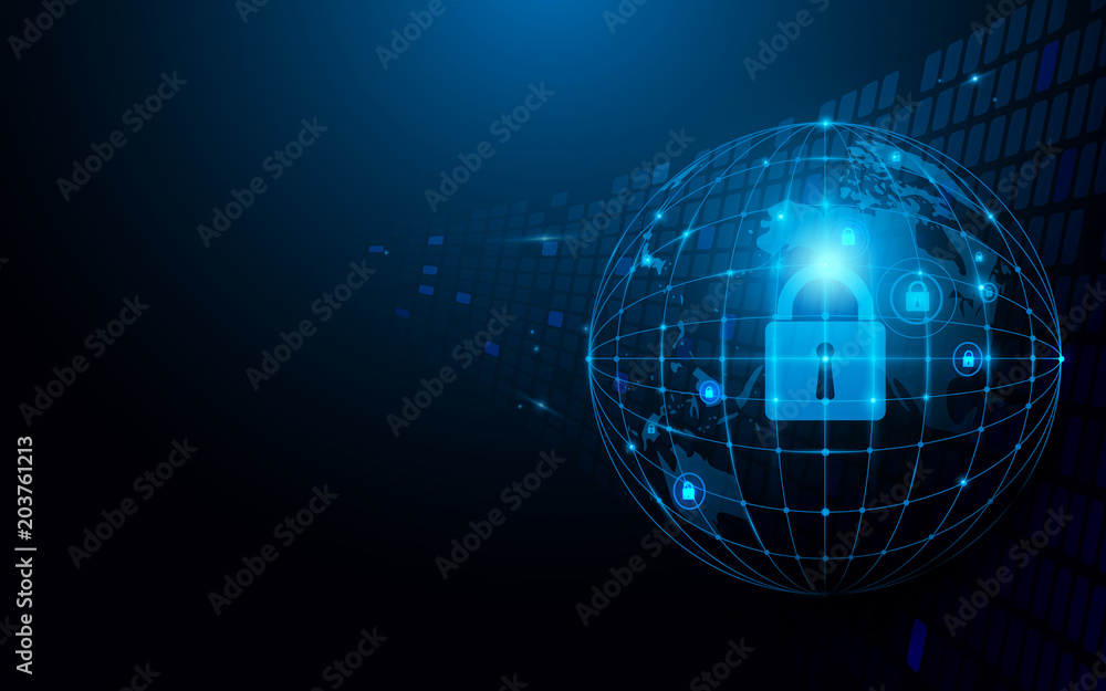 Fototapeta Abstract global and network and security futuristic technology connection concept dark blue background